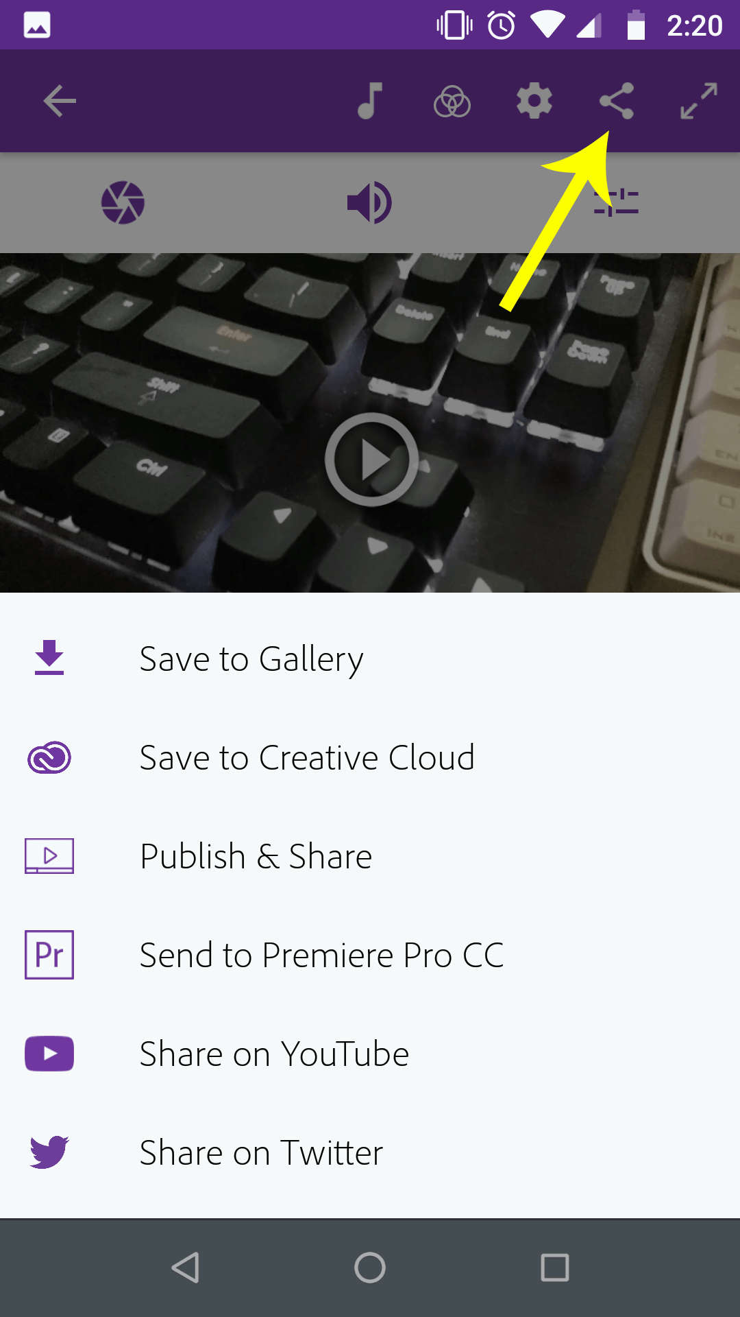Choose your publish options for your video on Android with Adobe Premiere Clip
