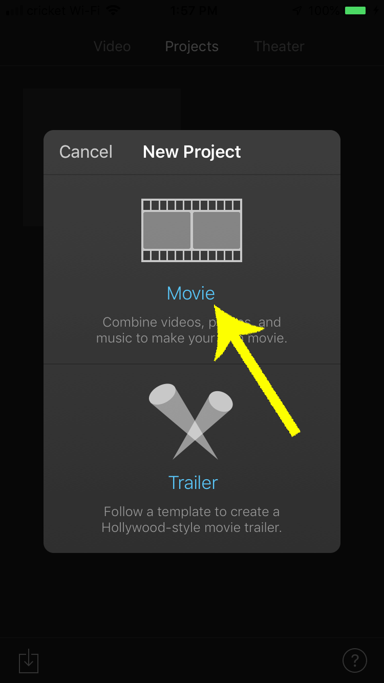 Create a new movie project to begin adding your intro video to the rest of your footage.
