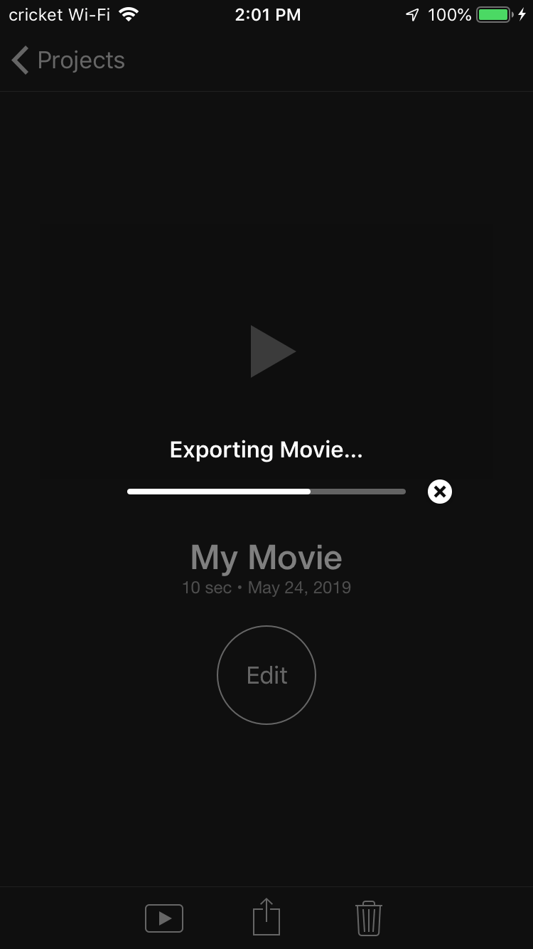 It will take a moment to save out your finished video with iMovie for iPhone.