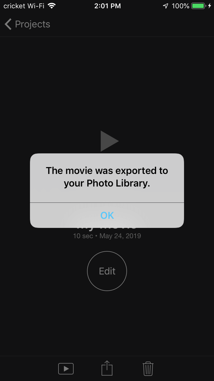 When completed, iMovie will save your edited video to your photo library on iPhone.
