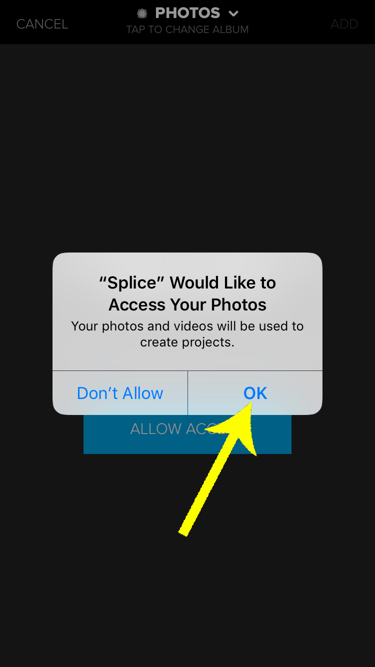 Press OK when you receive the iPhone prompt for access to your photo library.