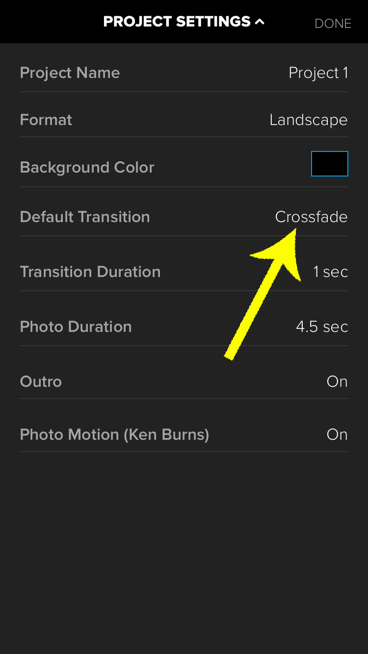 Tap on the Default Transition option to choose something other than Crossfade