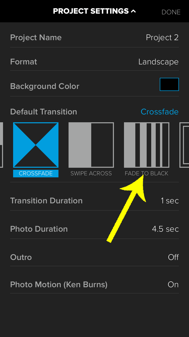 I recommend using Fade to Black as your default transition for adding an intro video to your clips on iPhone with Splice.