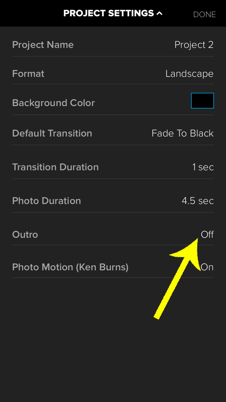 Turn the Outro off in your default settings using Splice for iPhone.