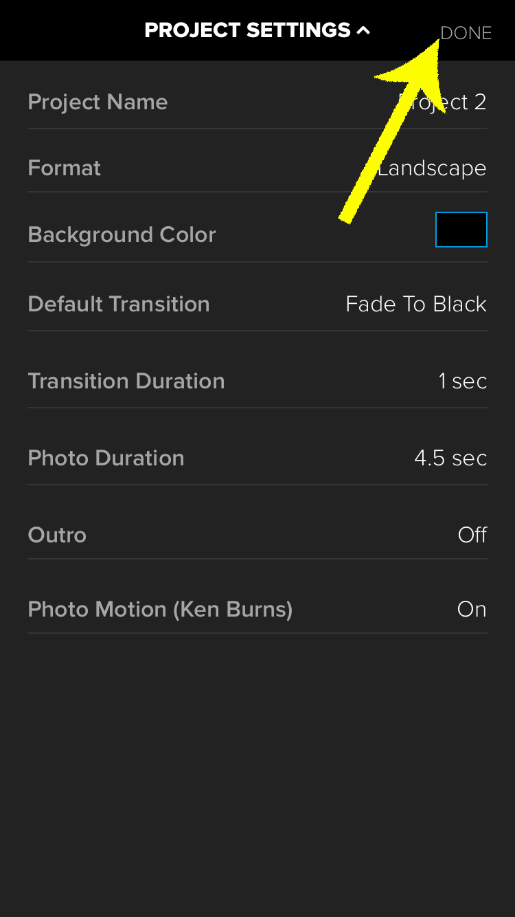 Press the Done button when you're happy with your Splice settings.