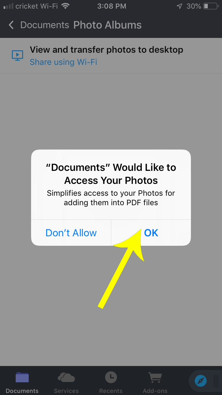 Press OK when the iPhone popup comes up asking for access to your photo library.