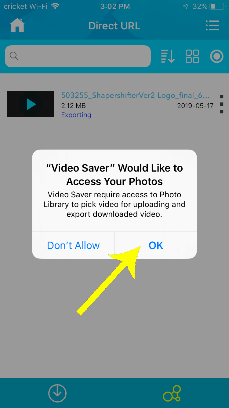 When your iPhone prompts your for access to your camera roll, select OK to finish saving your intro video to your photos.