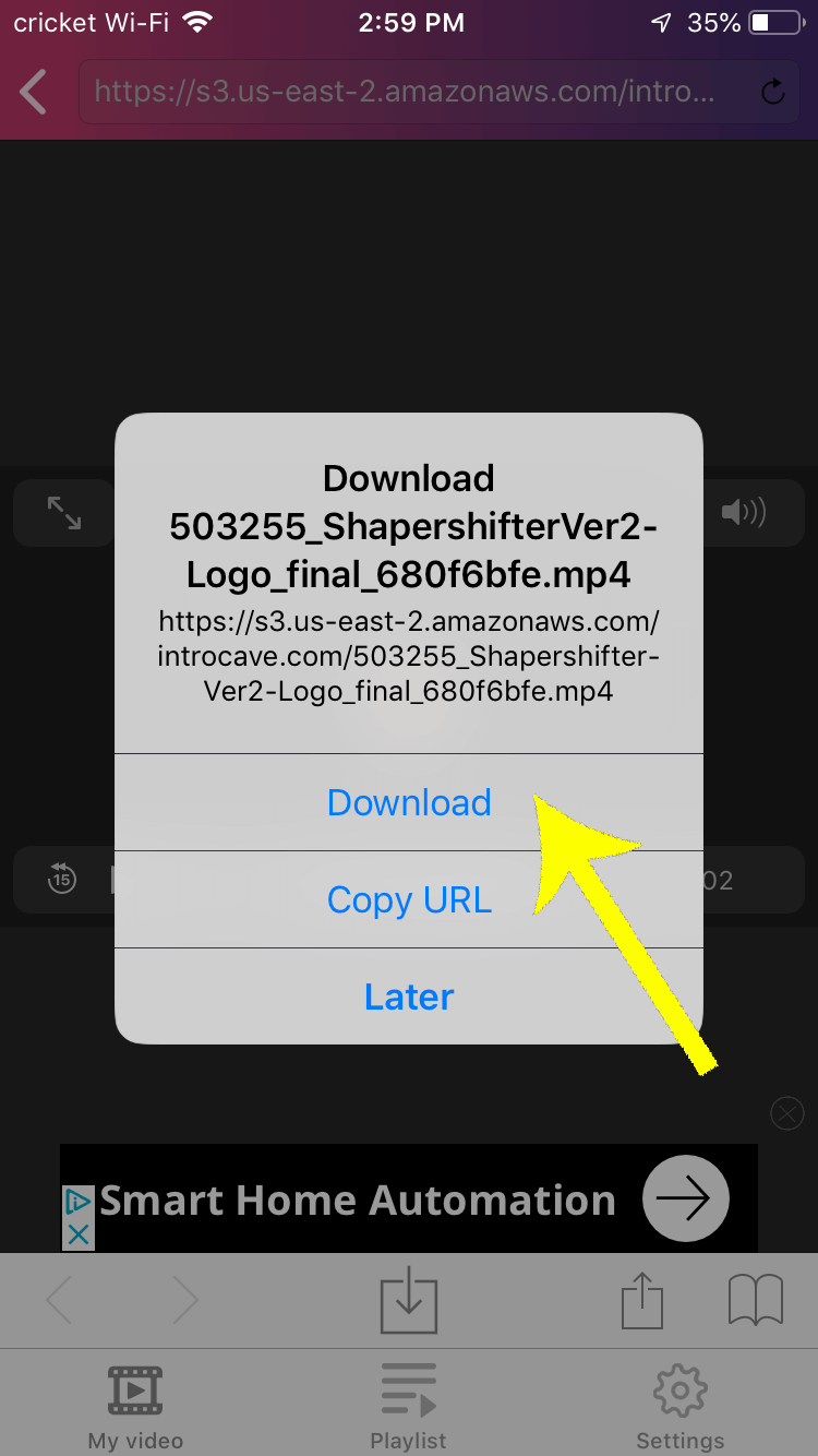 Whem prompted, select Download to begin downloading your intro video to your iPhone.